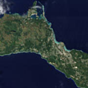 Satellite View Of The Island Of Guam Art Print