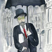 Satie Walking In The Rain Art Print