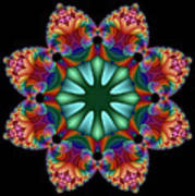 Satin Rainbow Fractal Flower II Art Print