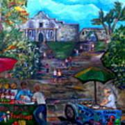 Saturday At Alamo Plaza Art Print