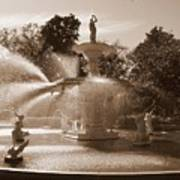 Savannah Sepia - Forsyth Fountain Art Print