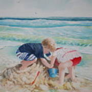 Saving The Sand Castle From The Tide Art Print