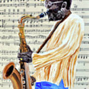 Sax Man With A Yellow Hat Art Print