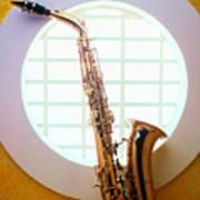 Saxophone In Round Window Print by Garry Gay