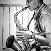 Saxophone Player Print by Laura Rispoli