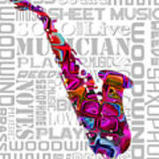 Saxophone With Word Background Art Print
