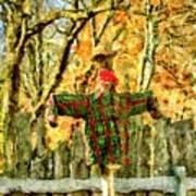 scarecrow in field at Stanhope Waterloo Village Art Print