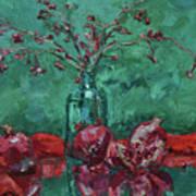 Scarlet Pomegranates Art Print