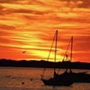 Scarlet Sunrise On Provincetown Pier 1  Art Print