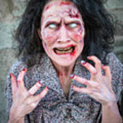 Scary Angry Zombie Woman Art Print