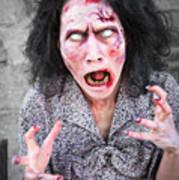 Scary Screaming Zombie Woman Art Print