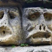 Scary Stone Heads Art Print