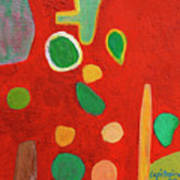 Scattered Things Over Red  Art Print