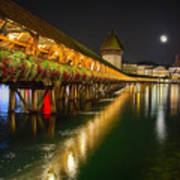 Scenic Night View Of The Chapel Bridge In Old Town Lucerne Art Print