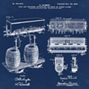 Schmidts Of Philadelphia Cold Beer Tap In Blue Art Print