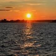 Schoodic Sunset With Island Lighthouse Art Print