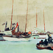 Schooners At Anchor In Key West Art Print by Winslow Homer
