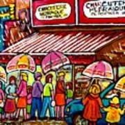 Schwartz's Deli Rainy Day Line-up Umbrella Paintings Montreal Memories April Showers Carole Spandau  Art Print