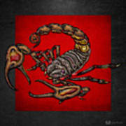 Scorpion On Red And Black  Art Print