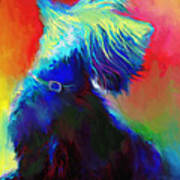 Scottish Terrier Dog Painting Print by Svetlana Novikova
