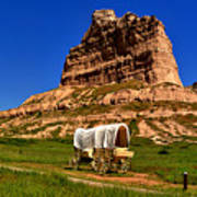 Scotts Bluff Wagon Train Panorama Art Print