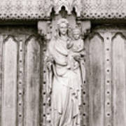 Sculpture Above North Entrance Of Westminster Abbey London Bw Art Print
