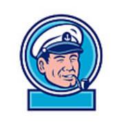 Sea Captain Smoking Pipe Circle Retro Art Print
