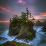 Sea Stack With Trees Of Oregon Coast Art Print