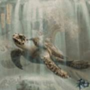 Sea Turtle Great Wave Art Print