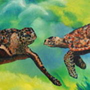 Sea Turtles And Dolphins Art Print by Susan Kubes