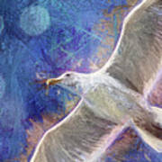 Seagull Against Blue Abstract Art Print