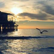 Seagull Pier Sunrise Seascape C2 Art Print