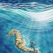 Seahorse Blues Art Print