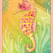 Seahorse Pink Art Print