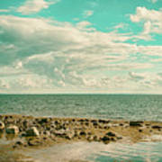 Seascape Cloudscape Retro Effect Art Print