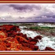 Seascape Scene On The Coast Of Cornwall L B With Alt. Decorative Ornate Printed Frame. Art Print