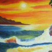 Seashore And Sunrise Art Print