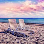 Seaside Chairs Art Print