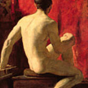 Seated Male Model Art Print by William Etty
