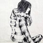 Seated Striped Nude Art Print