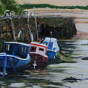 Seaton Sluice Harbour At Low Tide. Art Print
