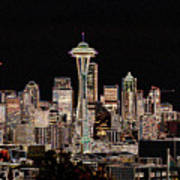 Seattle A Glow Art Print