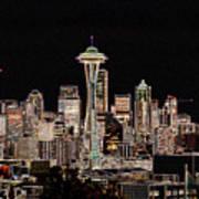 Seattle A Glow Art Print