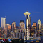 Seattle At Dusk Art Print