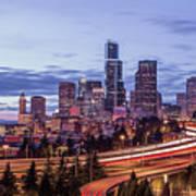 Seattle At Dusk Art Print