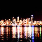 Seattle At Night - From Alki Beach Art Print