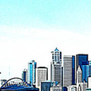 Seattle Blue Art Print