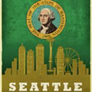 Seattle City Skyline State Flag Of Washington Art Poster Series 017 Art Print