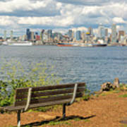 Seattle City Skyline View From Alki Beach Art Print