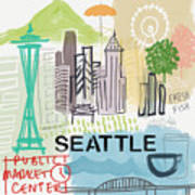 Seattle Cityscape- Art By Linda Woods Art Print